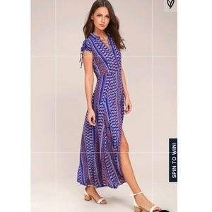 "Lulus ""I'm worth it"" print blue maxi dress"